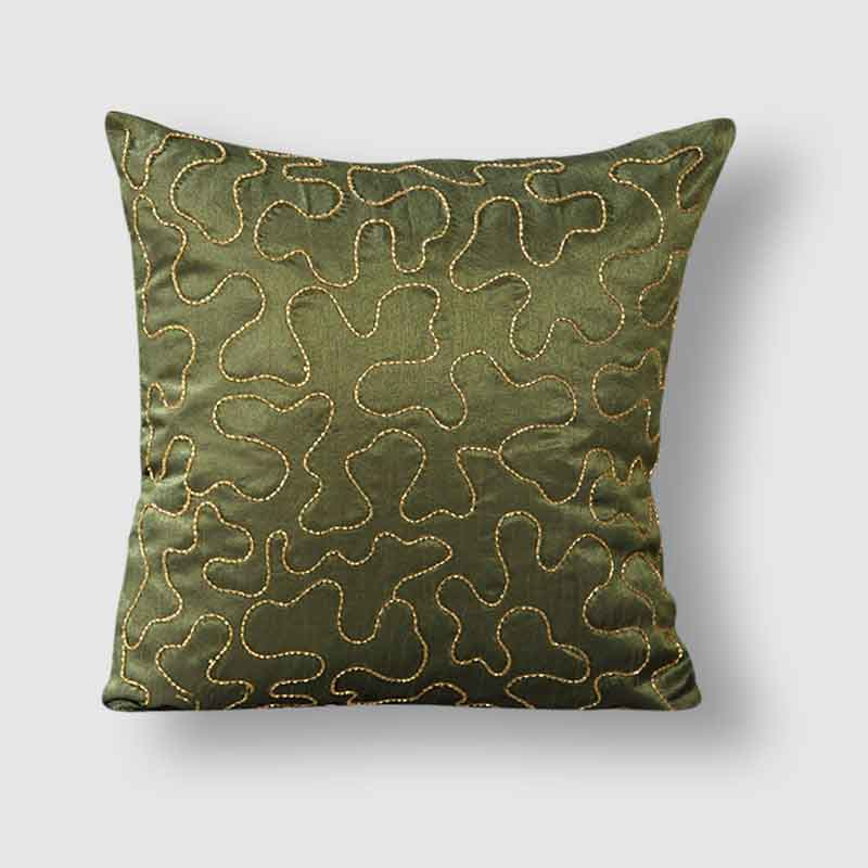 Moorni Self Embroidery Work Silk cushion Cover - Set of 2 - EL-026-013