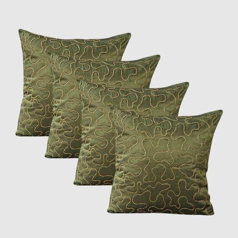 Moorni Self Embroidery Work Silk cushion Cover - Set of 4 - EL-026-026