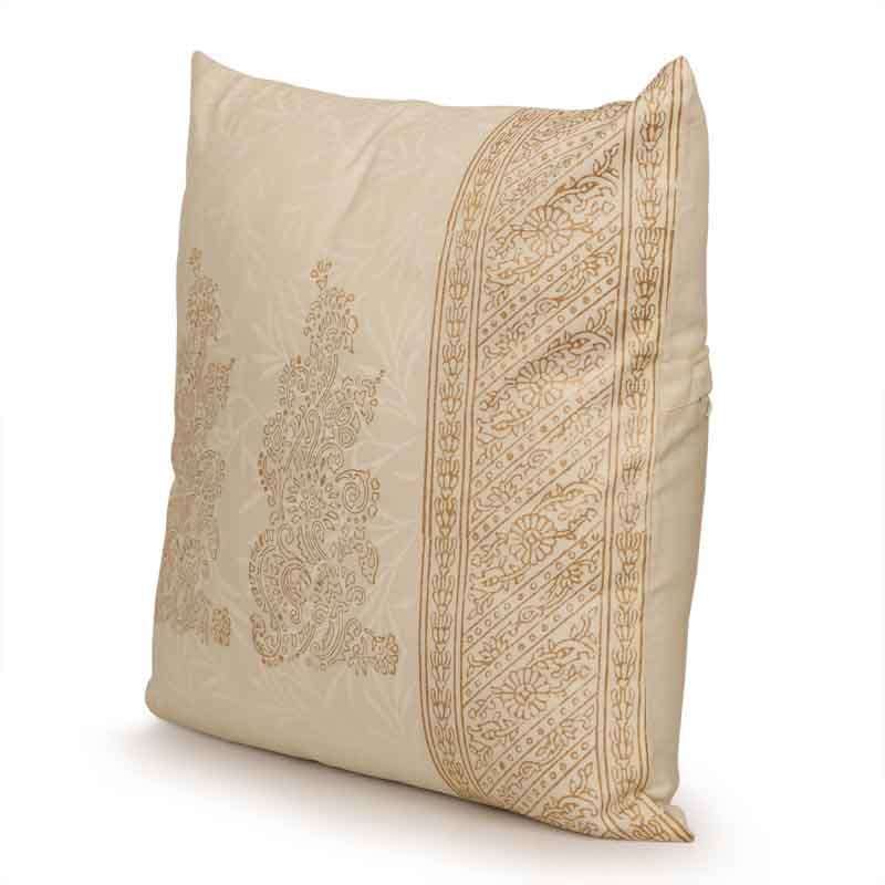 Moorni Charmer Wooden Handblocked Cushion Cover In Soft Cotton - EL-026-031