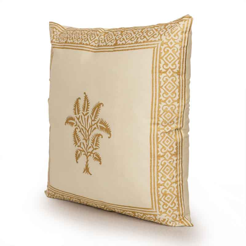 Moorni Fern Wooden Handblocked Cushion Cover in Soft Cotton - EL-026-032