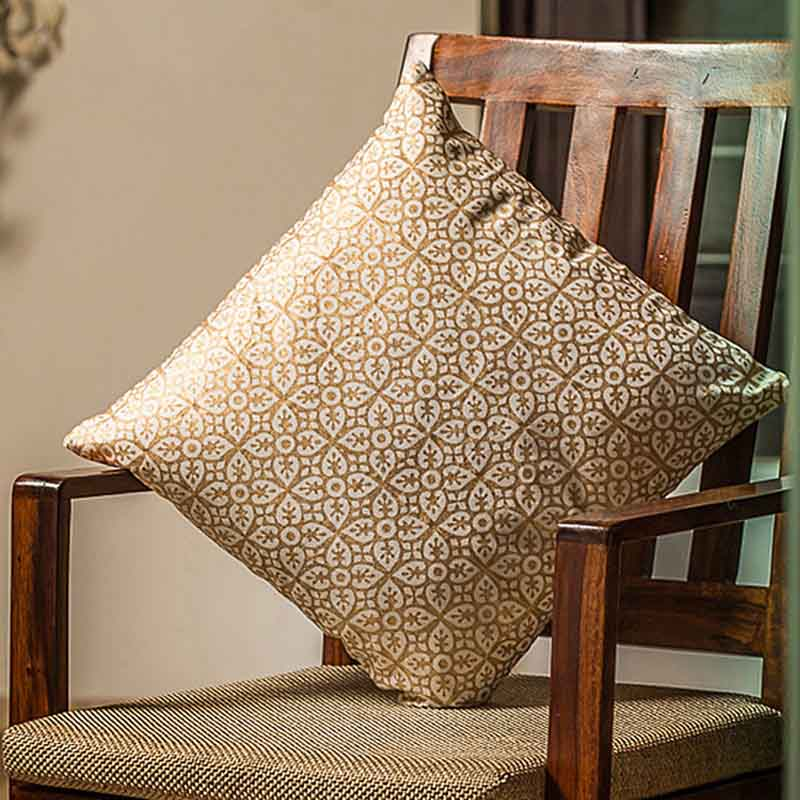 Moorni Wooden Block Printed Cotton Cushion Cover - Set of 3 - EL-026-057