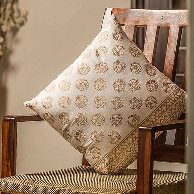 Moorni Wooden Block Printed Cotton Cushion Cover - Set of 5 - EL-026-077