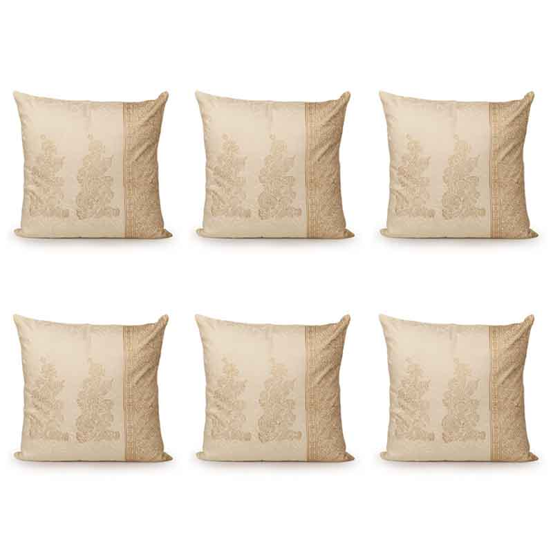 Moorni Wooden Block Printed Cotton Cushion Cover - Set of 6 - EL-026-086