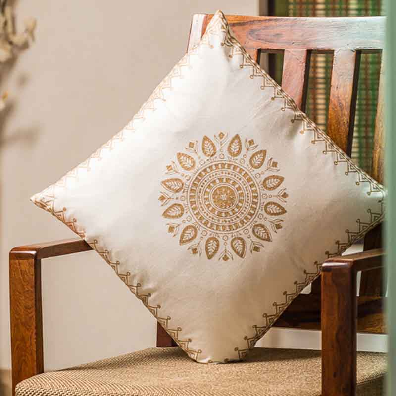 Moorni Wooden Block Printed Cotton Cushion Cover - Set of 6 - EL-026-093