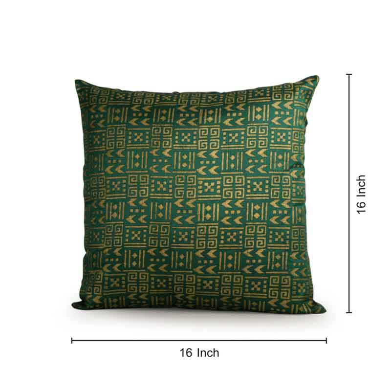 Moorni Handblock Printed Cushion Cover in Silk - Green and Golden - EL-026-164