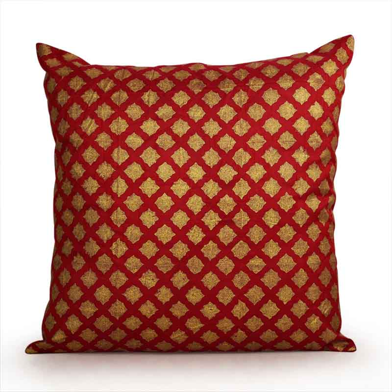 Moorni Handblock Printed Cushion Cover in Silk - Red and Golden - EL-026-167