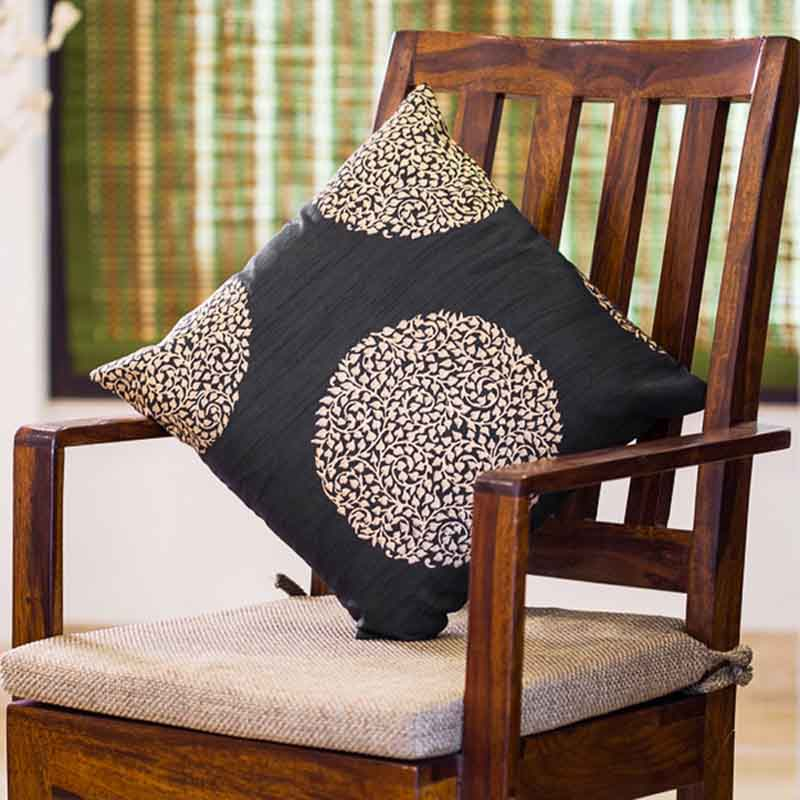 Moorni Handblock Printed Cushion Cover in Silk - Black and Golden - EL-026-171