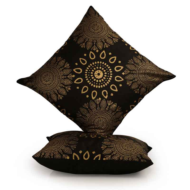 Moorni Handblock Printed Cushion Cover in Silk - Set of 2 - EL-026-179