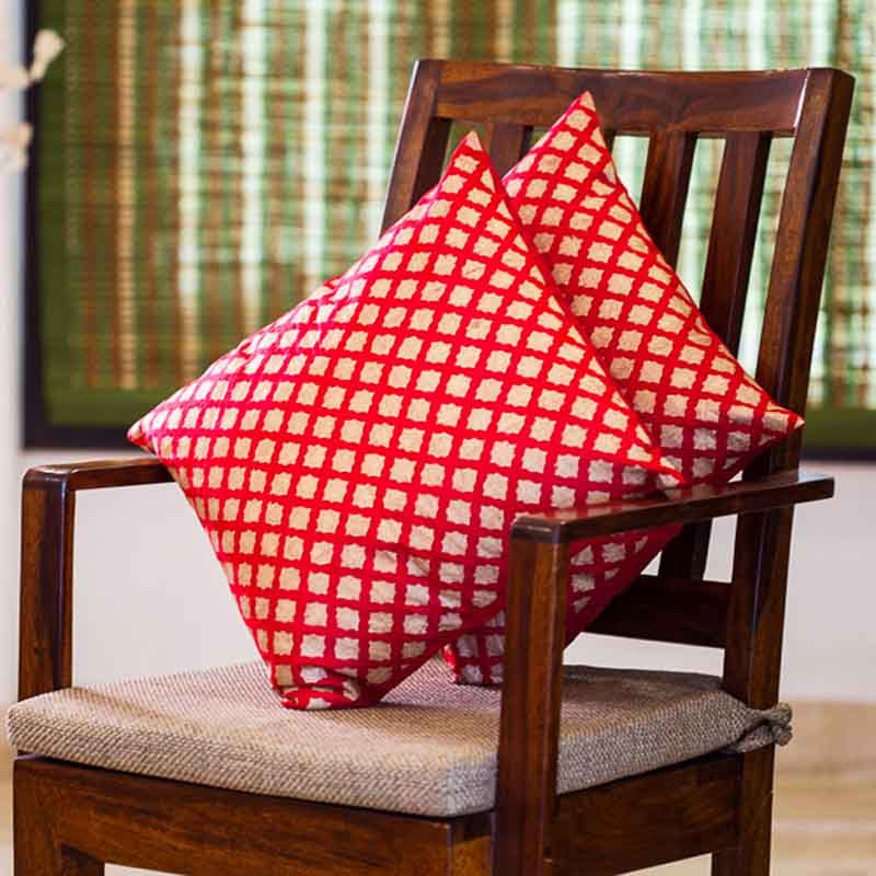 Moorni Handblock Printed Cushion Cover in Silk - Set of 2 - EL-026-183