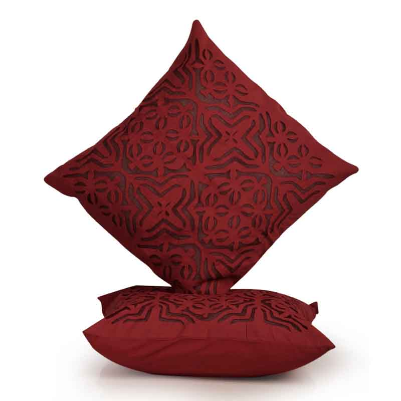 Moorni Applique Art Cushion Cover in Soft Cotton - Set of 2 - EL-026-191