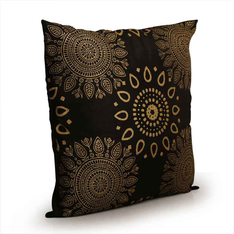 Moorni Handblock Printed Cushion Cover in Silk - Set of 3 - EL-026-195