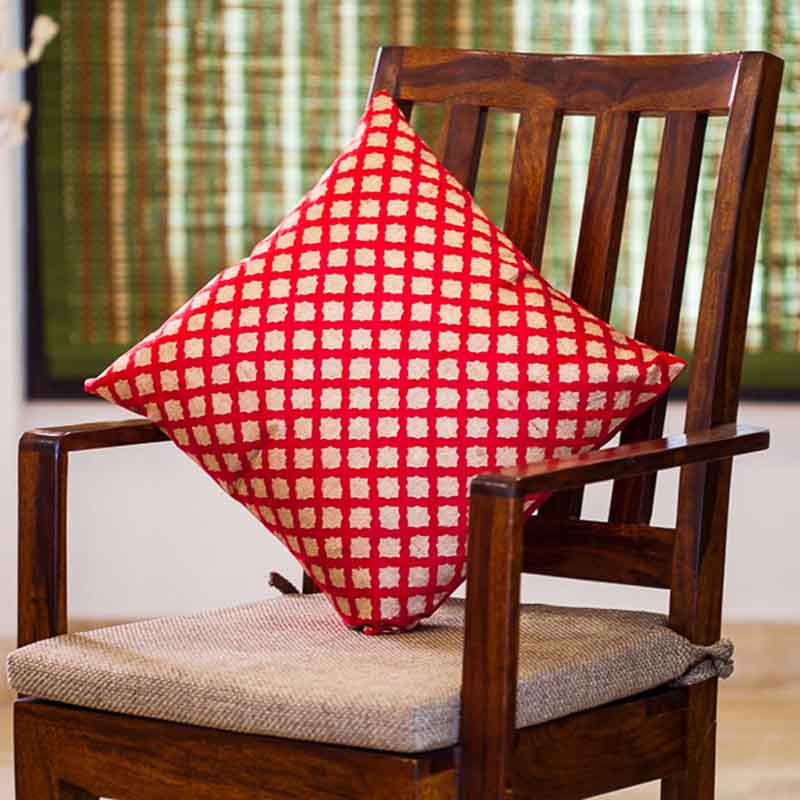 Moorni Handblock Printed Cushion Cover in Silk - Set of 3 - EL-026-199