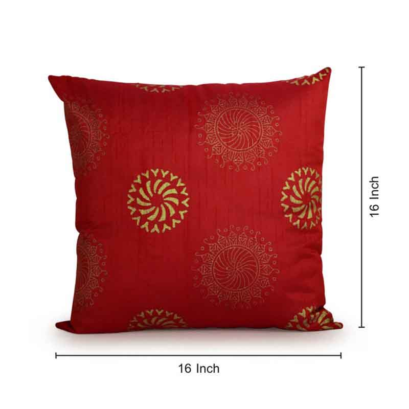 Moorni Handblock Printed Cushion Cover in Silk - Set of 3 - EL-026-200