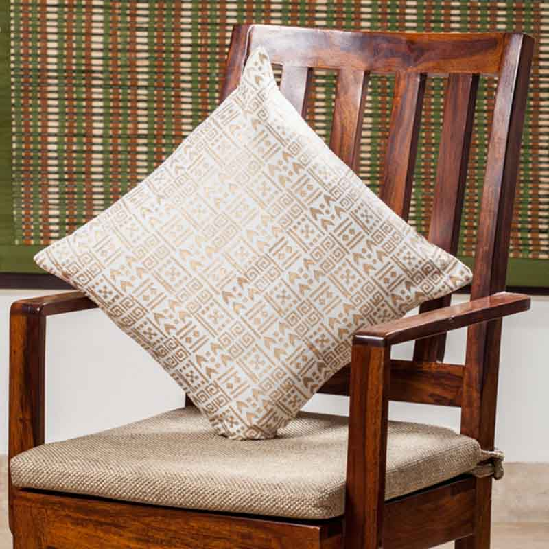 Moorni Hand Block Printing Cushion Cover in Silk - EL-026-260