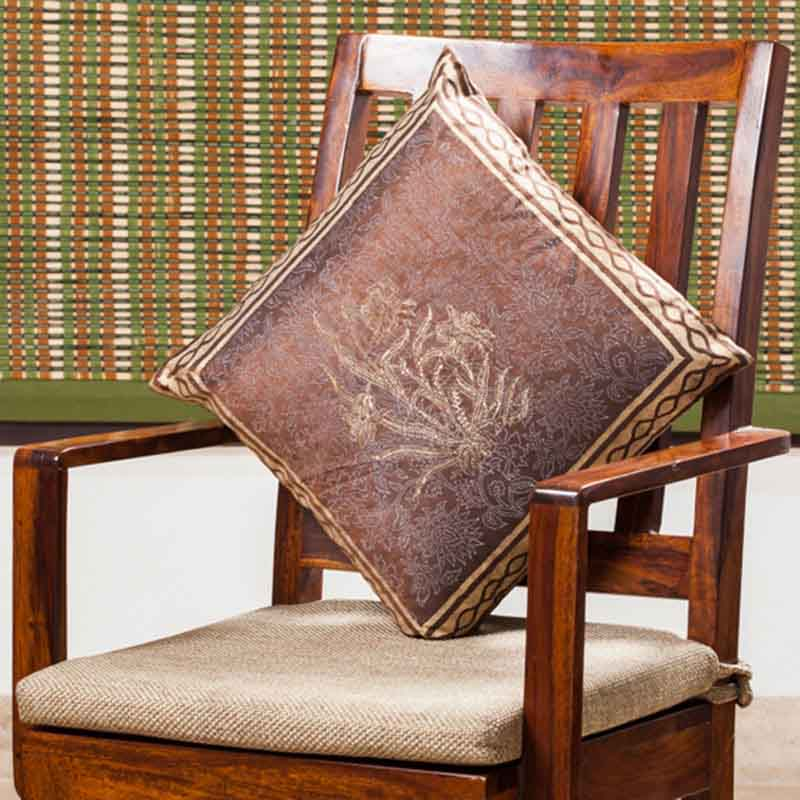 Moorni Hand Block Printing Cushion Cover in Silk - EL-026-263
