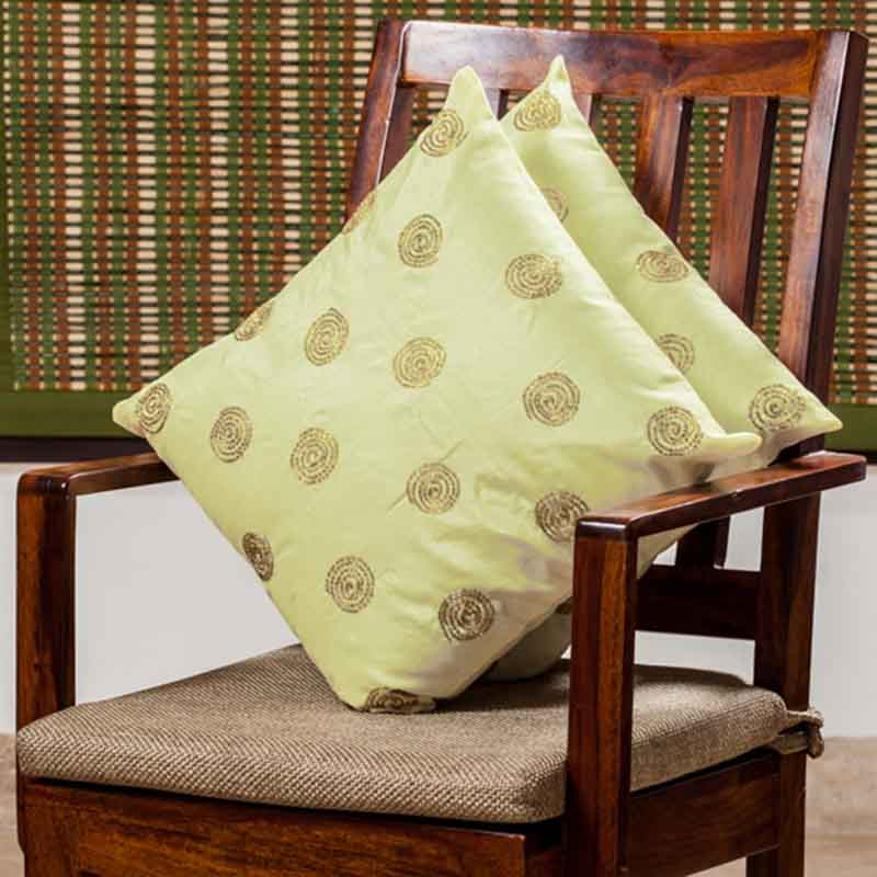 Moorni Hand Embroidered Cushion Cover in Silk - Set of 2 - EL-026-274