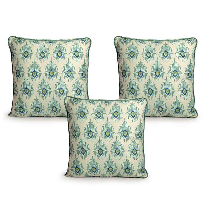 Moorni Hand Block Printing Cushion Cover in Cotton (Both Sides) Set Of 3 - EL-026-283