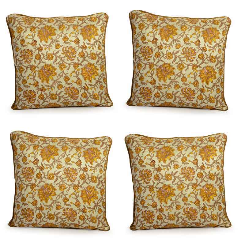 Moorni Hand Block Printing Cushion Cover in Cotton - Set of 4 - EL-026-306