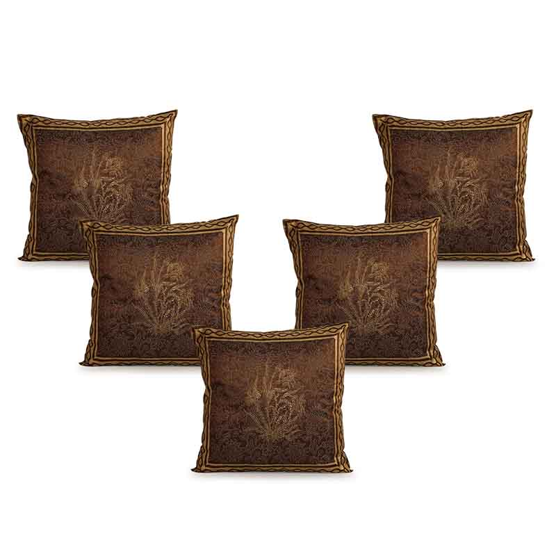 Moorni Hand Block Printing Cushion Cover in Silk - Set of 5 - EL-026-311