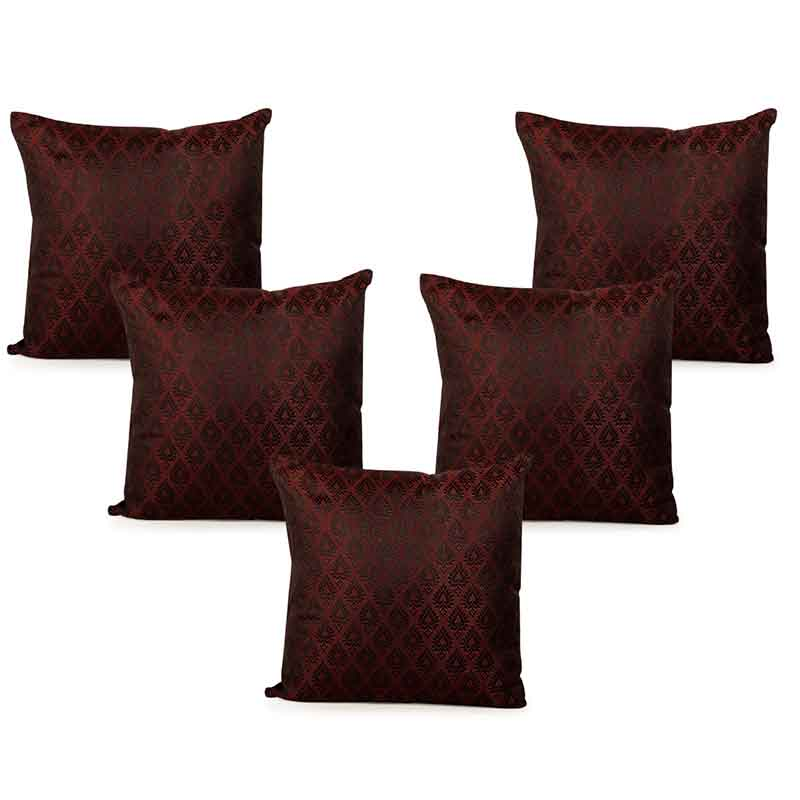 Moorni Handwoven Cushion Cover in Silk - Set of 5 - EL-026-312