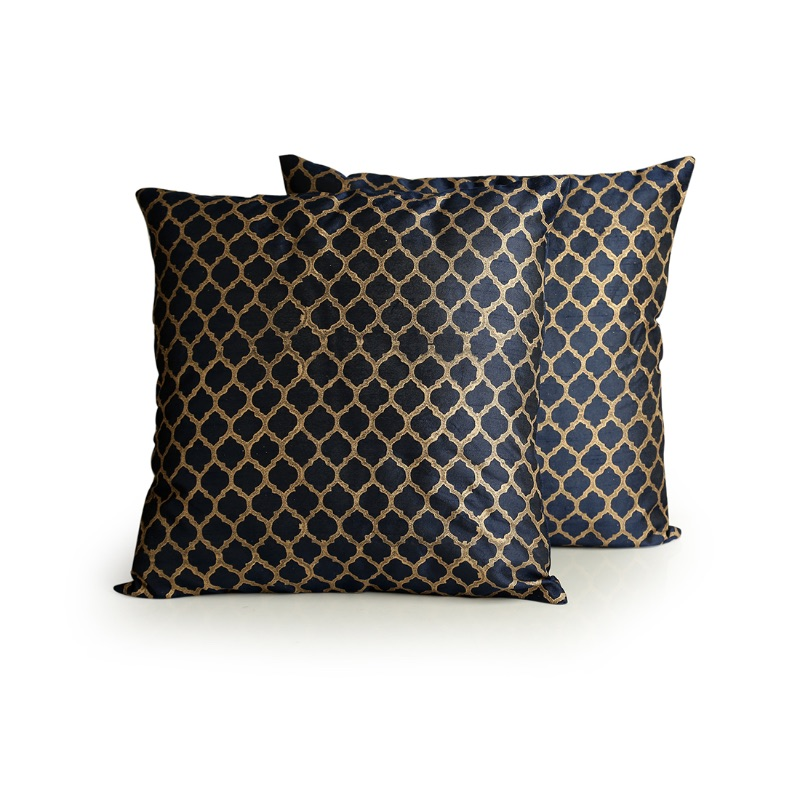 Moorni Moroccan Pattern Hand Blocked Cushion Cover In Silk (Set Of 2)