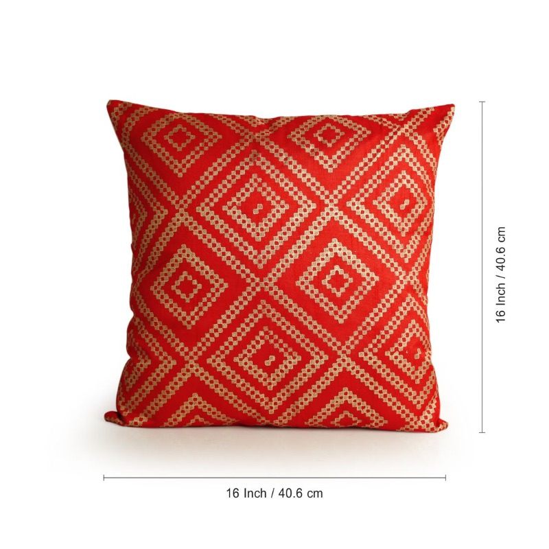 Moorni Geometrical Pattern Hand Blocked Cushion Cover In Silk