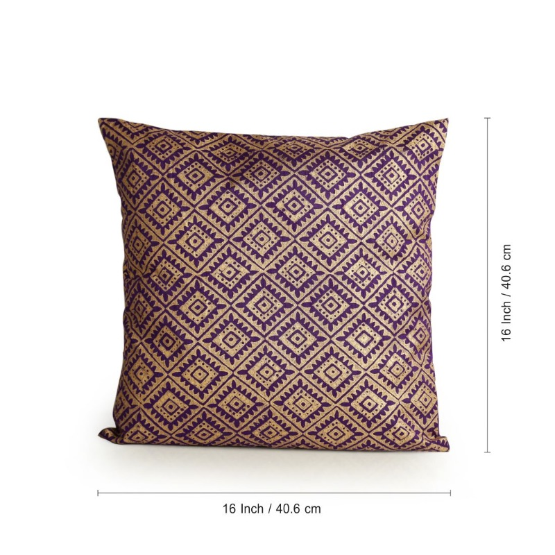 Moorni Tessellation Pattern Hand Blocked Cushion Cover In Silk EL-026-337
