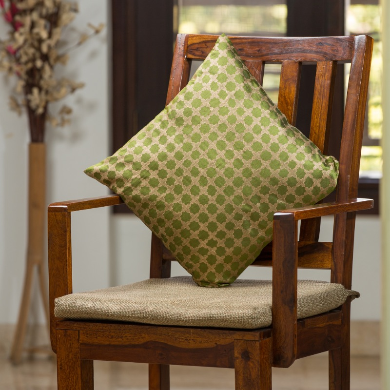 Moorni Mughal Pattern Hand Blocked Cushion Cover In Silk