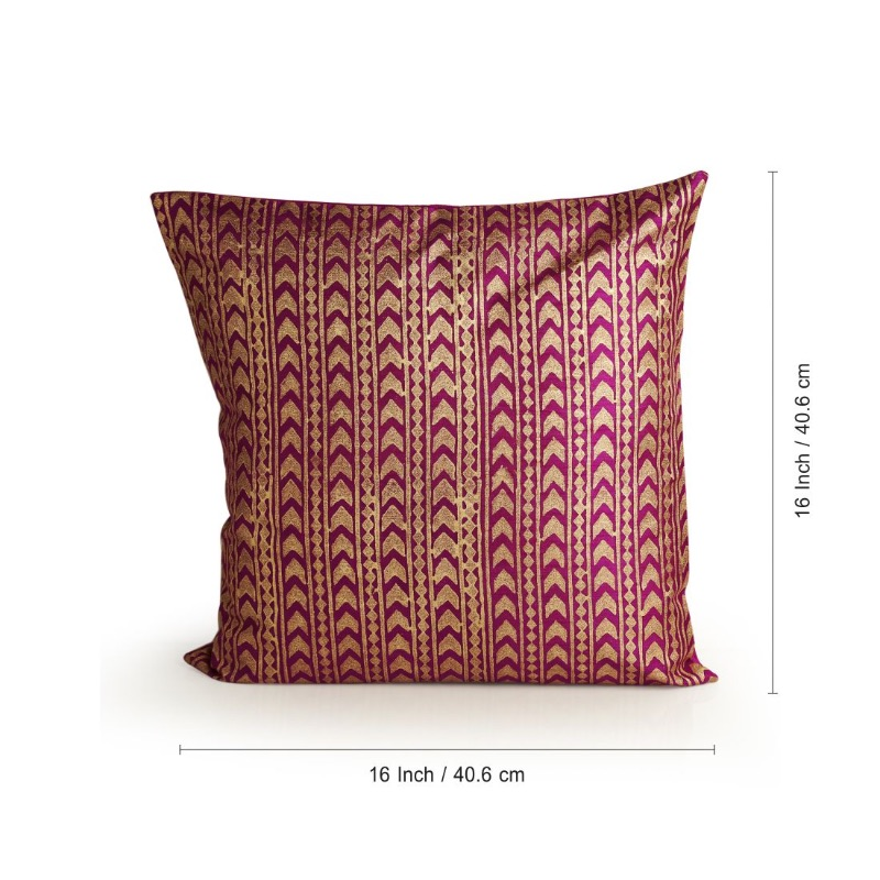 Moorni Arrow Pattern Hand Blocked Cushion Cover In Silk (Set Of 2)