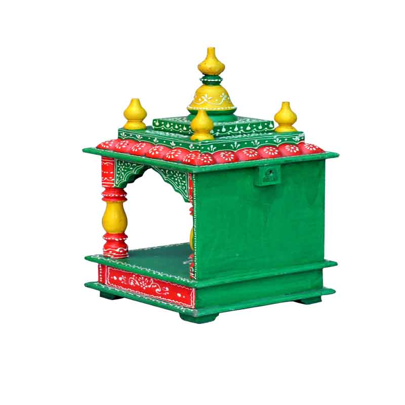 Glow Homes Hand Painted Wooden Temple KWID-11H