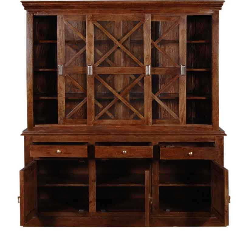 Moorni Solid Wood Hutch Cabinet In Provincial Teak Finish  SBA044