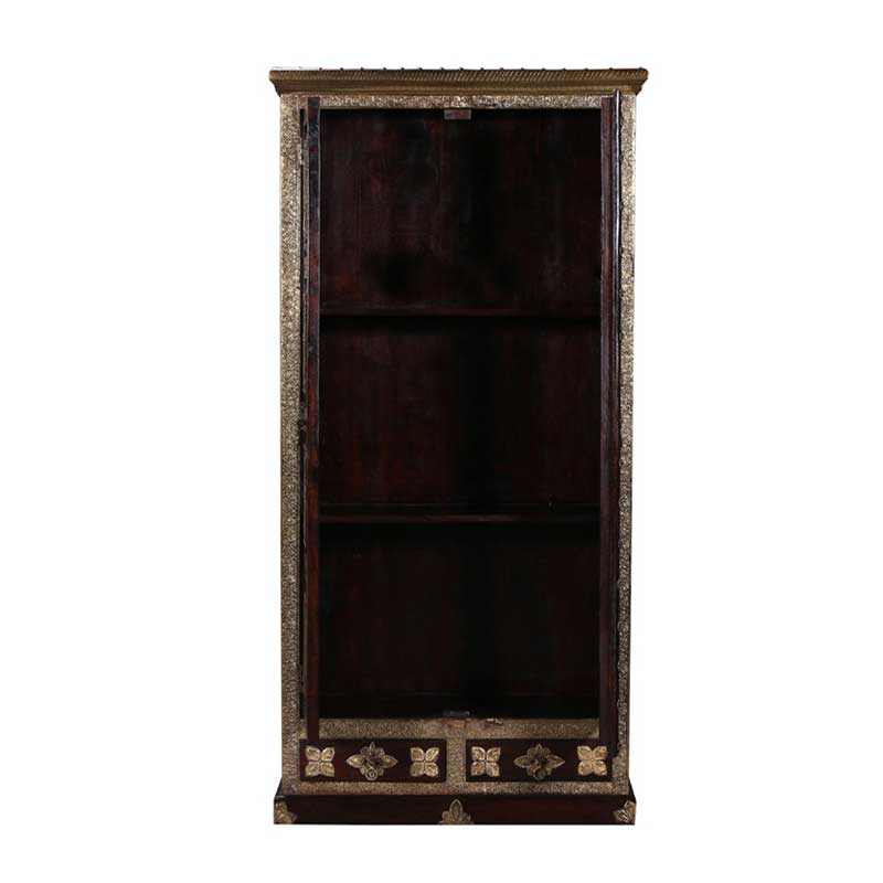 Navi Art Wood Brass Fitted Almirha in Honey Oak Finish - SBA084