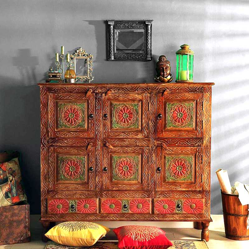 Navi Art Wood Painted Sideboard in Honey Oak Finish - SBA094