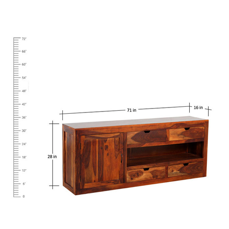 Navi Art Wood TV Table in Honey Oak Finish - SBA100