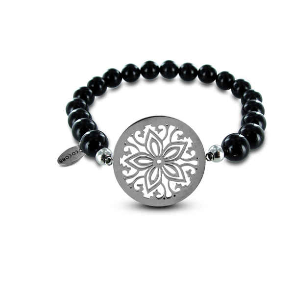 Coco88 Beloved Collection Black Agate Natural Stones FLower Bracelet