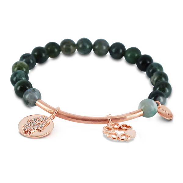 Coco88 Beloved Collection Moss Agate Natural Stones Bracelet