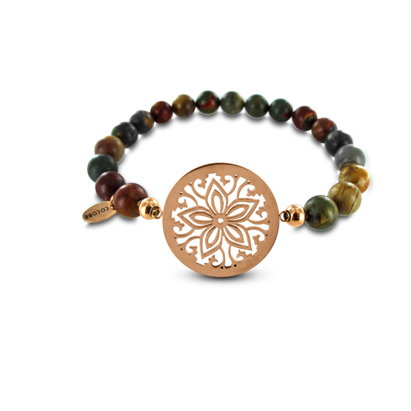 Coco88 Beloved Collection Picasso Jasper Natural Stones FLower Bracelet