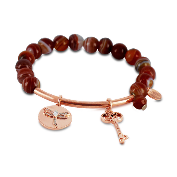Coco88 Beloved Collection Red Agate Natural Stones Bracelet