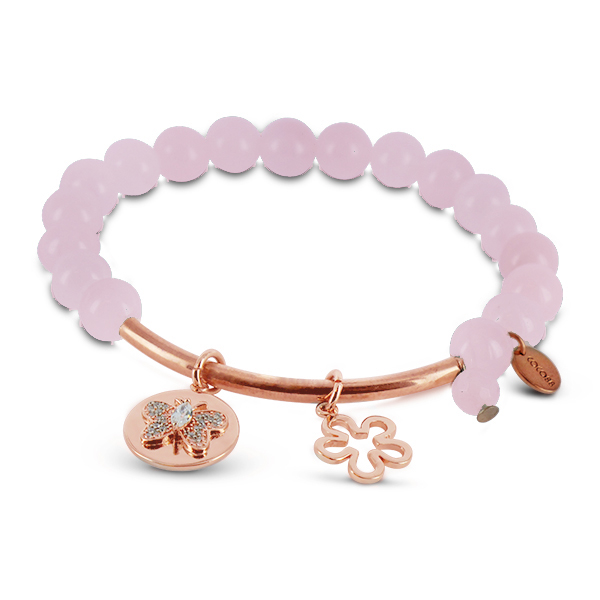 Coco88 Beloved Collection Rose Quartz Natural Stones Bracelet