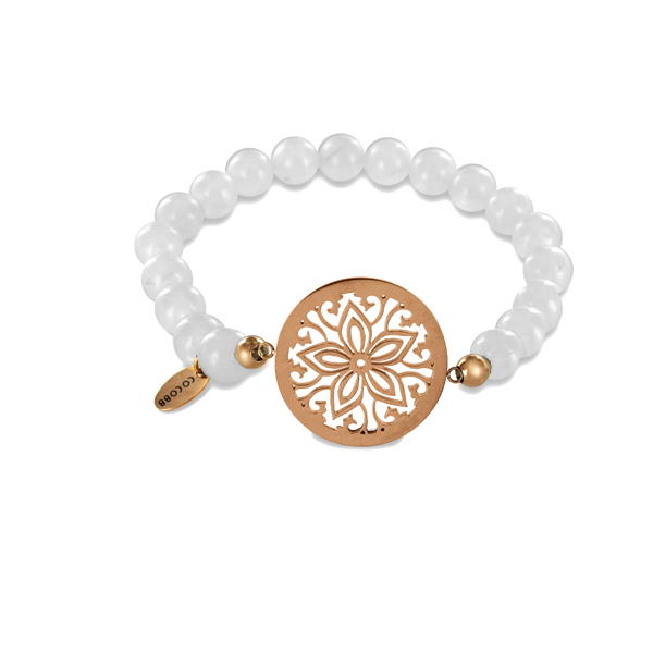 Coco88 Beloved Collection White Jade Natural Stones FLower Bracelet