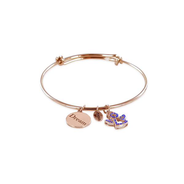 Coco88 Celestial Collection Sapphire Rose Bangle with Lucky Charms