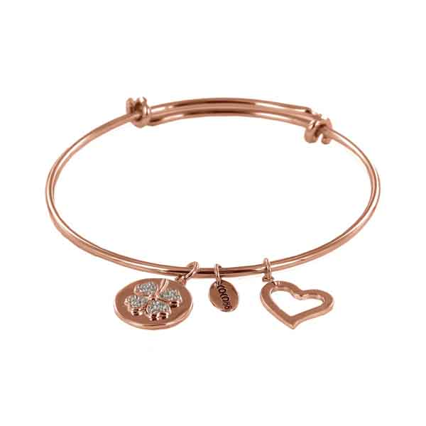 Coco88 Sense Collection Rose Bangle with Zirconia Clover