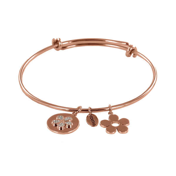 Coco88 Sense Collection Rose Bangle with Zirconia Flower