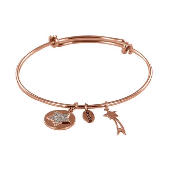 Coco88 Sense Collection Rose Bangle with Zirconia Star