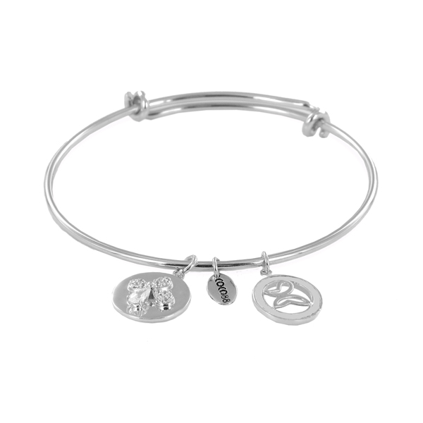 Coco88 Sense Collection Silver Bangle with Zirconia Butterfly & Butterfly Charms