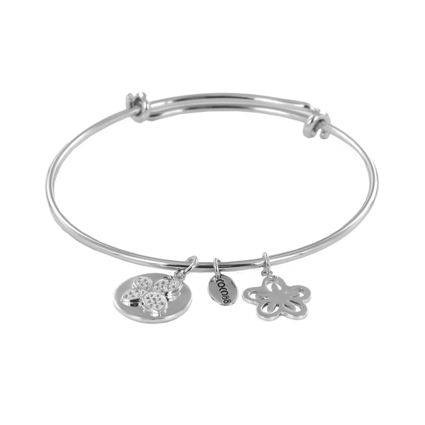 Coco88 Sense Collection Silver Bangle with Zirconia Butterfly & Flower Charms