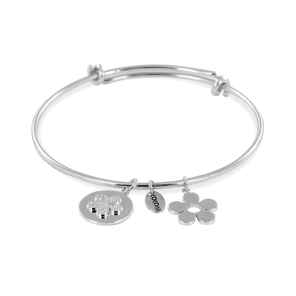 Coco88 Sense Collection Silver Bangle with Zirconia Flower & Flower Charms