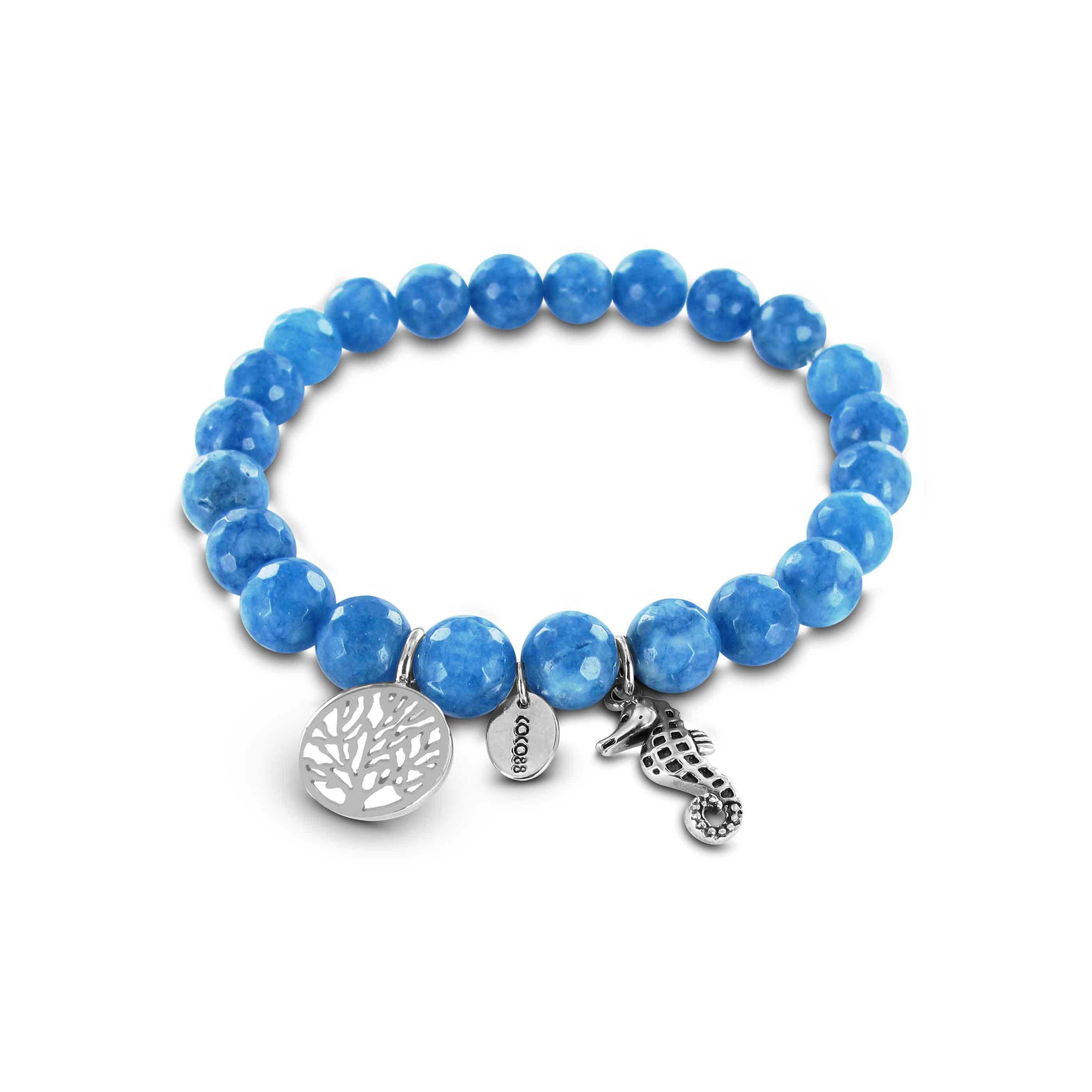 Coco88 Serenity Blue Natural Stones Jade Collection Bracelet