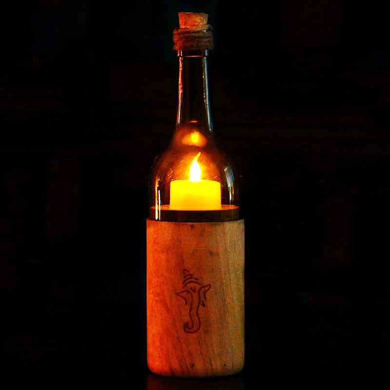 Battery Diya In A Recycled Bottle Decorative