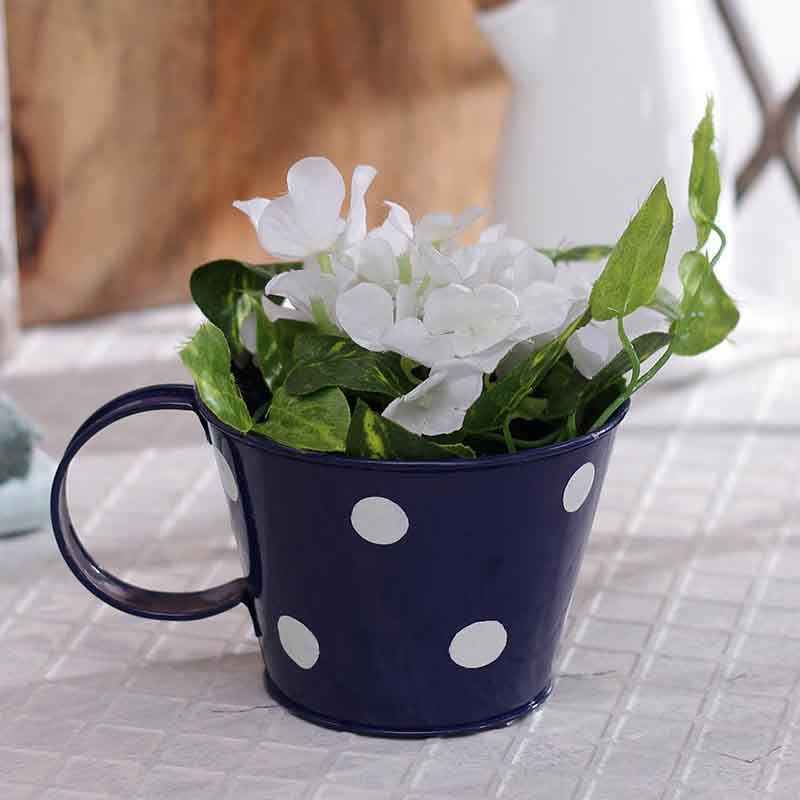 Blue Polka Dot Cup Shape Planter Pot